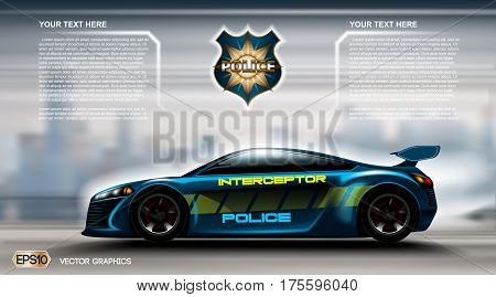Realistic Police car futuristic concept Infographic. Urban city background. Online Cab Mobile App, Cab Booking, Map Navigation e-commerce business concept. Digital Vector illustration