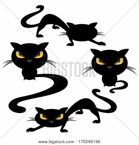 funny evil cats - black animals halloween vector set