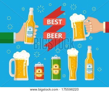 Two hands holding the beer bottle and beer glass. A beer bottle can a mug a glass. Symbol or design elements for restaurant beer pub or cafe. Flat style.