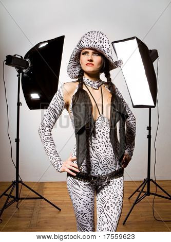 Model wearing fashionable outfit on photo session