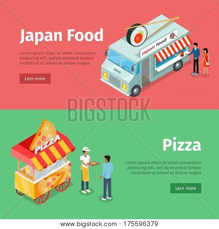 Japan food and pizza mobile carts with people selling street meal and some space for information. Decorated minivan with sushi and chopsticks on roof and stall with piece of pizza on top vector
