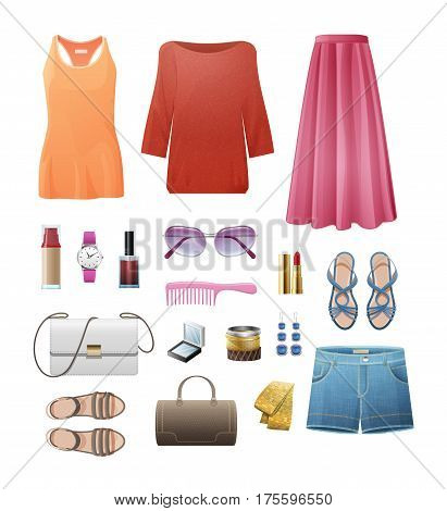 Women s casual important outfits set on white. Orange singlet, ruddy blouse, rosy skirt, white handbag, jeans shorts, blue summer shoes and earrings, brown bag and sandals, pink comb vector set