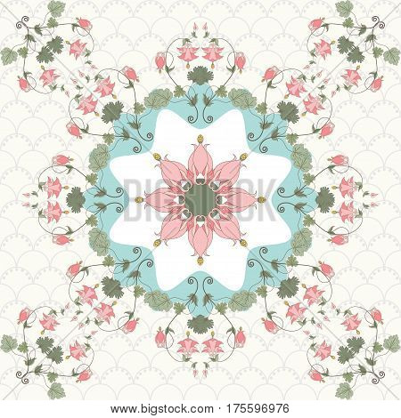 Seamless vector background. Vintage pattern in modern style. Aquilegia plants contain flowers buds and leaves. Pink and green.