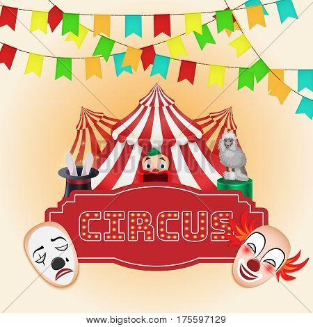 Circus poster Magic show. For use as logos on cards in printing posters invitations web design and other purposes.