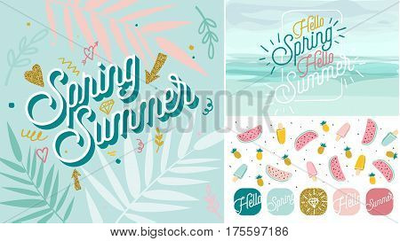 Spring Summer poster, banner in trendy 80s-90s Memphis style. Copper metal and rose gold vector illustration, lettering and colorful design for poster, card, invitation. Easy editable for Your design.