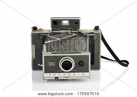 Vintage Instant Camera On White