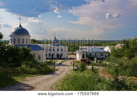 DIVNOGORIE, VORONEZH REGION, RUSSIA - JUNE 8, 2014: View to the Divnogorsky male monastery with the Church of the Assumption of the Mother of God. The church was found in XVII century