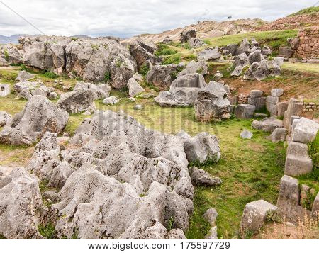 Sacsayhuaman Ruins, Cuzco, Peru. Fortress Sacsayhuaman - the last stronghold of the Incas in the north of Cusco.