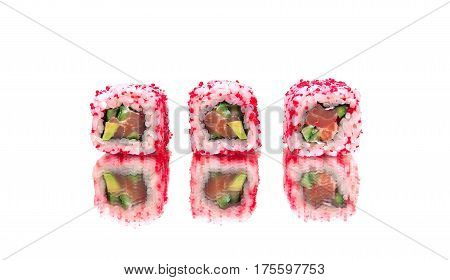Rolls with avocado and salmon on a white background. Horizontal photo.