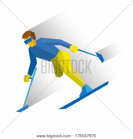 Winter Sports - Para-alpine Skiing. Disabled Skier Running Downhill