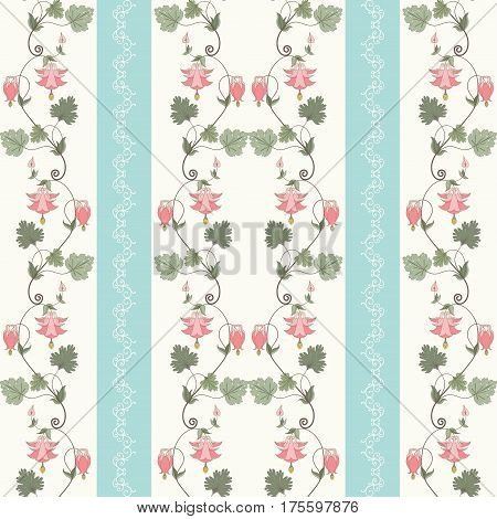 Seamless vector background. Vintage pattern in modern style. Aquilegia plants contain flowers buds and leaves.
