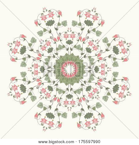 Round vector pattern. Vintage pattern in modern style. Aquilegia plants contain flowers buds and leaves. Pink and green.