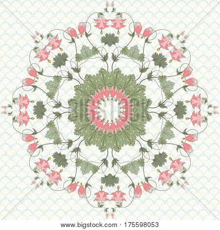 Round vector pattern on a simple background. Vintage pattern in modern style. Aquilegia plants contain flowers buds and leaves.