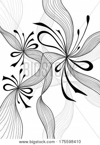 Beautiful light abstract background with lace flowers bows black on white for wallpaper or  decoration package perfumer textile clothes or for screen on mobile telephone tablet or for banners
