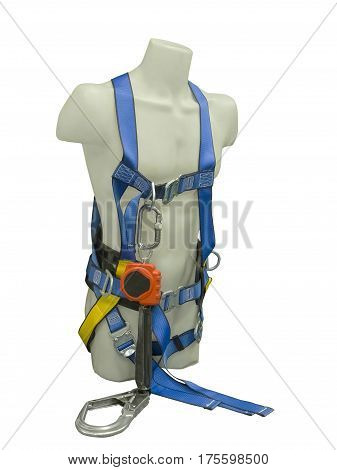 Mannequin in safety harness equipment and lanyard for work at heights. Isolated on a white background.
