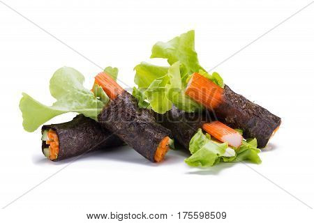 asia Salad roll vegetables with seaweed wrap.