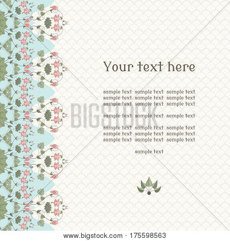 Vector card. Vintage border in modern style. Aquilegia plants contain flowers buds and leaves. Place for your text. Perfect for invitations announcement or greetings.