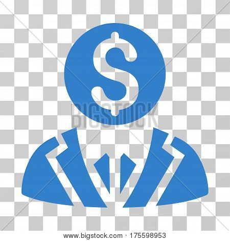 Banker icon. Vector illustration style is flat iconic symbol cobalt color transparent background. Designed for web and software interfaces.