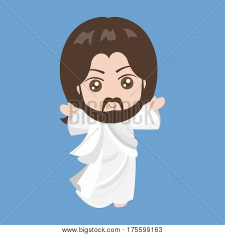 Vector Jesus rising, cartoon styles, flat design