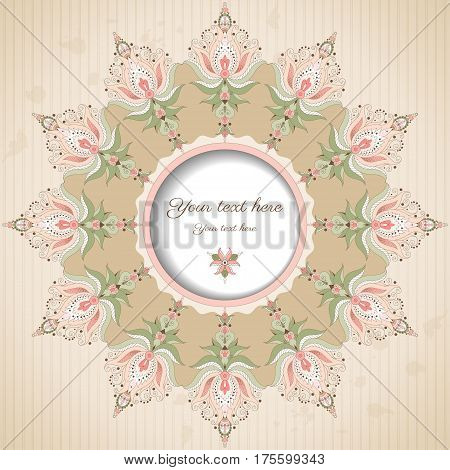 Round vector frame with oriental floral elements on vintage background with stripes and blotches. Place for your text.