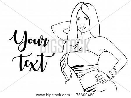 Sexy woman in dress on a background. EPS 10 vector