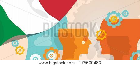 Italy concept of thinking growing innovation discuss country future brain storming under different view represented with heads gears and flag vector
