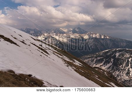 Beautiful scenery of spring snowy mountains . Tatry