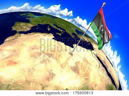 Libya national flag marking the country location on world map. 3D rendering, parts of this image furnished by NASA