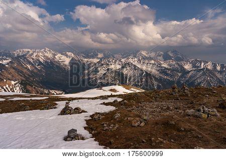 Great mountain peaks in spring landscape. Tatry
