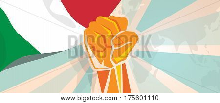 Italy fight and protest independence struggle rebellion show symbolic strength with hand fist illustration and flag vector