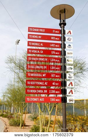 SCOTTSDALE, AZ-MAR 6: Signage on the property of Salt River Fields at Talking Stick on March 6, 2014 in Scottsdale, Arizona.