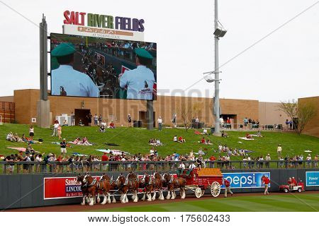 SCOTTSDALE, AZ-MAR 6: Clydesdales before the game between the Arizona Diamondbacks and the Oakland Athletics at Salt River Fields at Talking Stick on March 6, 2014 in Scottsdale, Arizona.