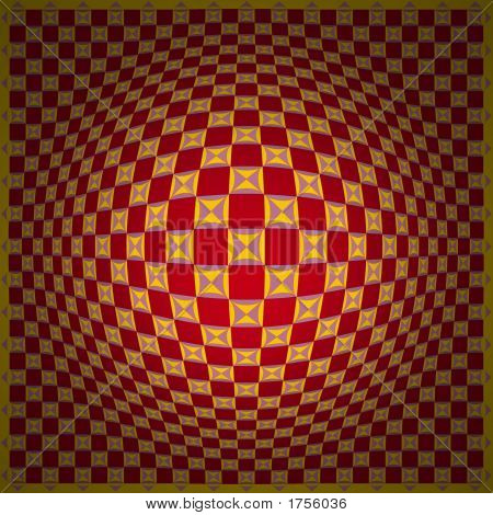 Op Art Homage To Vv Expand One Red Yellow