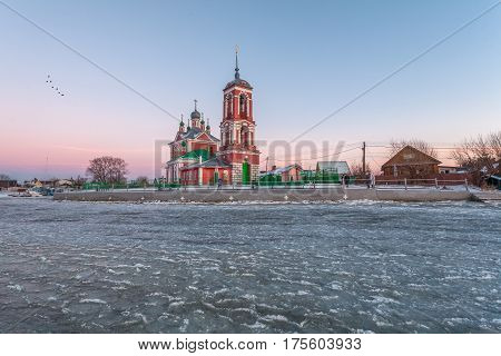 church of Forty martyrs against the background of lake Pleshcheevo ice on a winter decline in Pereslavl-Zalessky