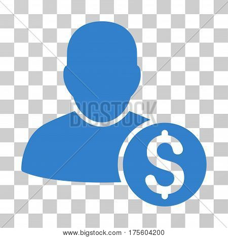 Businessman icon. Vector illustration style is flat iconic symbol cobalt color transparent background. Designed for web and software interfaces.