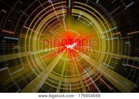 Yellow Circular Glow Wave. Scifi Or Game Background.