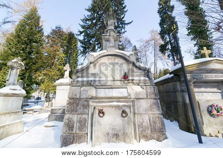 Lviv, Ukraine - Feb 14, 2017: Ancient Crypt In The Lychakivskyj Cemetery Of Lviv, Ukraine. Officiall
