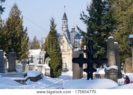 LVIV, UKRAINE - Feb 14, 2017: Lychakivskyj cemetery of Lviv, Ukraine. Officially State History and Culture Museum-Preserve - Lychakiv Cemetery