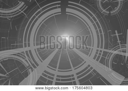 Gray Circular Glow Wave. Scifi Or Game Background.
