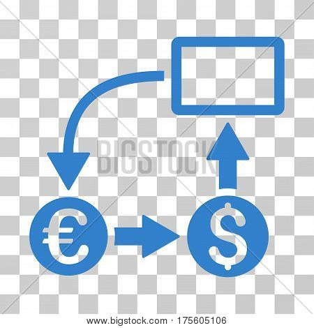 Cashflow Euro Exchange icon. Vector illustration style is flat iconic symbol cobalt color transparent background. Designed for web and software interfaces.