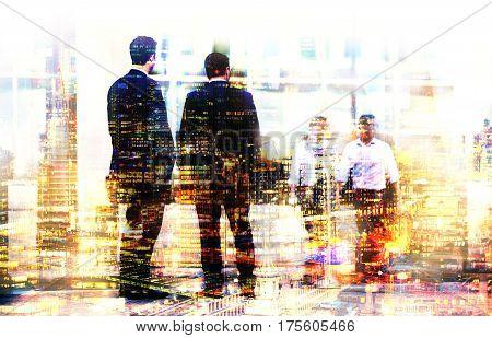 Two businessmen talking on the street. Multiple exposure image. Business concept illustration. London