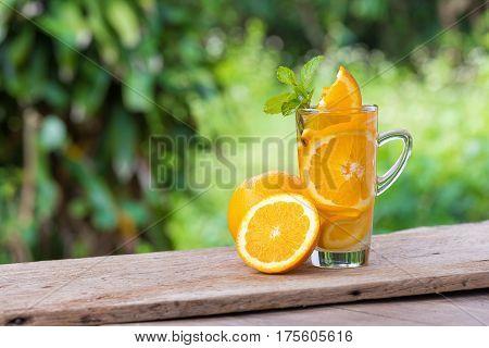 Detox Water with orange, healthy herb Detox Water
