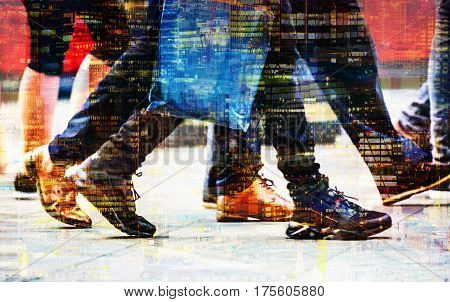 Feet of pedestrians walking on the crosswalk in Oxford street, London. Multiple exposure image. Modern life, travel and shopping concept