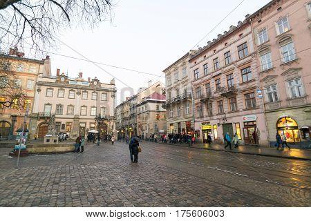LVIV, UKRAINE - Feb 14, 2017: Central market square Plosha Rynok in Lviv, Ukraine
