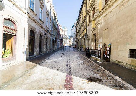 LVIV, UKRAINE - Feb 14, 2017: Street landscape in Lviv, Ukraine