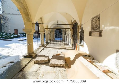 LVIV, UKRAINE - Feb 14, 2017: The oldest preserved part of the Armenian Cathedral of the Assumption of Mary in Lviv, Ukraine. It is located in the city's Old Town