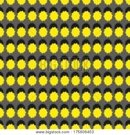 Seamless pattern with geometric shapes and symbols yellow and black colors on a grey background