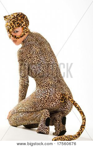 Hot beautiful model in latex leopardess costume