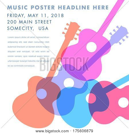 An abstract acoustic guitar design - ideal for gig flyers or CD art