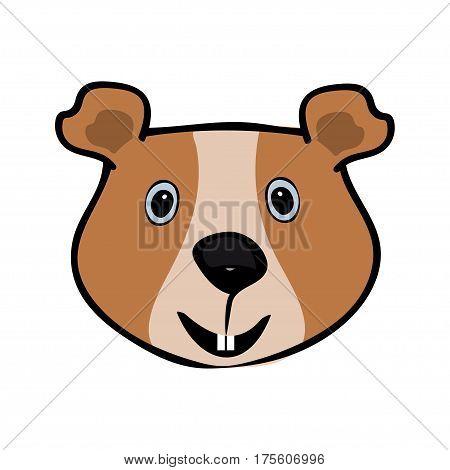 Guinea pig funny cute head pets. Vector illustration